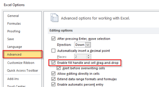 Excel Options Dialog Box