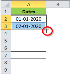 Fill Handle Icon on Dates