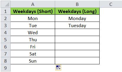 Weekdays Fill Handle Result - Short Weekdays