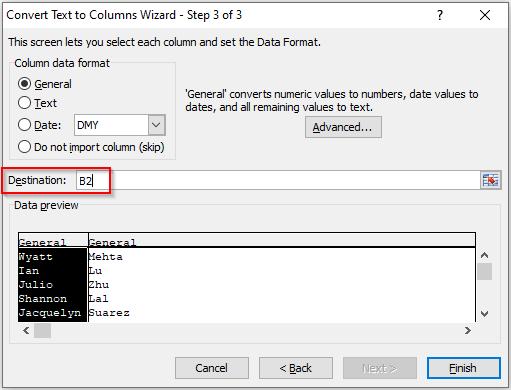 Excel Text to Column - Destination Cell