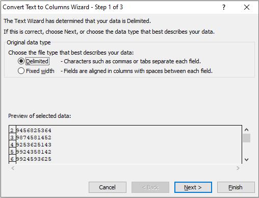 Excel Text to Column dialogbox