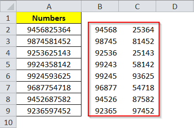 Result of Excel Text to Column Fixed Width
