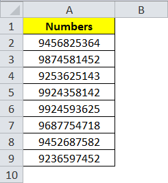 Sample Data - List of Numbers