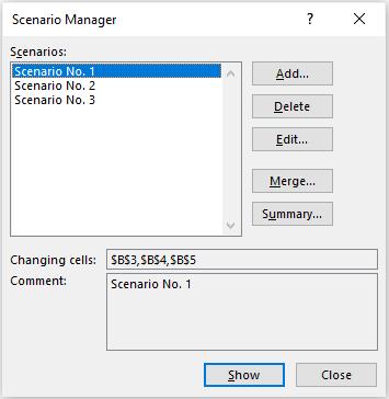 Scenario Manager Dialog Box #2