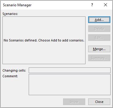 Scenario Manager Dialog Box
