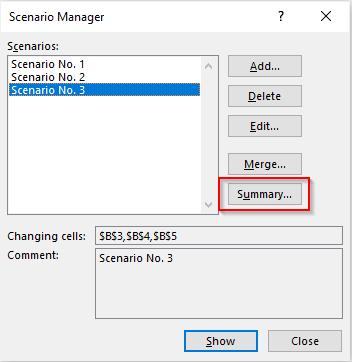 Scenario Manager - Summary Option