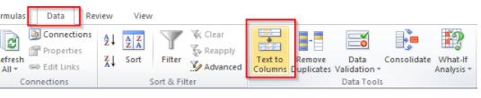 Text To Column - Navigation Path