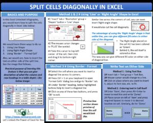Split Cells Diagonally in Excel