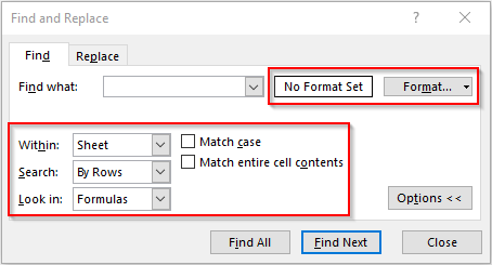 Advanced Find What Options