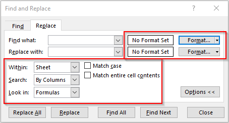 Advanced Find and Replace Options