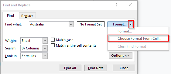 Choose Format from Cell