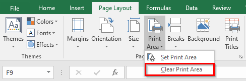 Clear Print Area in Excel