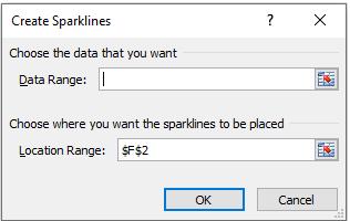 Create Sparkline Dialog Box
