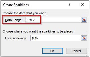 Data Range in Create Sparkline Dialog Box