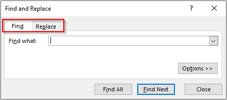 Find and Replace Dialog Box