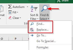 Home Tab - Find and Replace