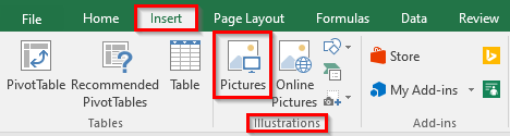 Pictures Option Under Insert Tab