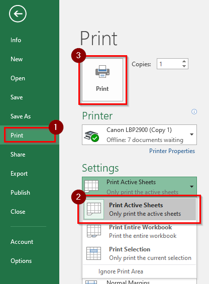 Print Selected Worksheets In Excel