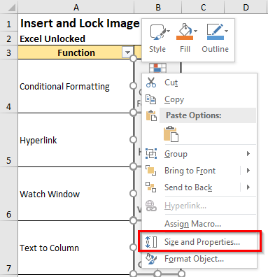 Right-Click Size and Properties Option