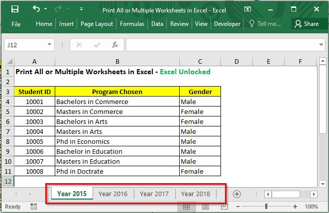 Sample Data - Print All or Multiple Worksheets in Excel