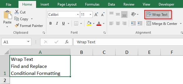 Wrap Text Navigation