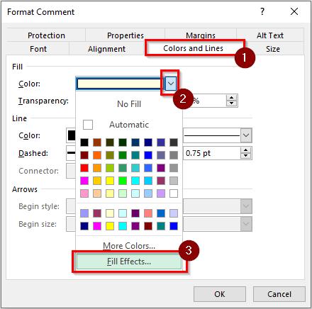 Format Comment Dialog Box