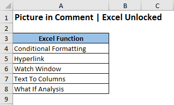 Sample Data - Insert Picture in Excel Comment