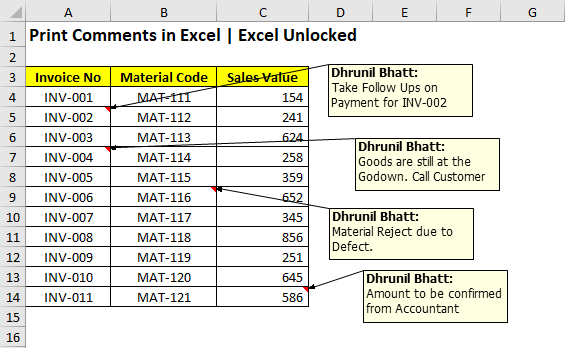 Sample Data - Print Comments in Excel