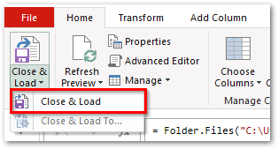 Close and Load Power Query Excel