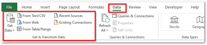 Navigation to Power Query Excel Feature