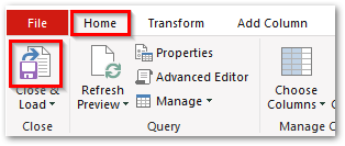 Power Query Editor - Close & Load Icon