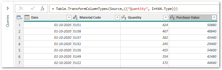 Appended Table Power Query Editor