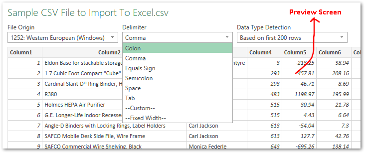 Imported CSV Data To Power Query