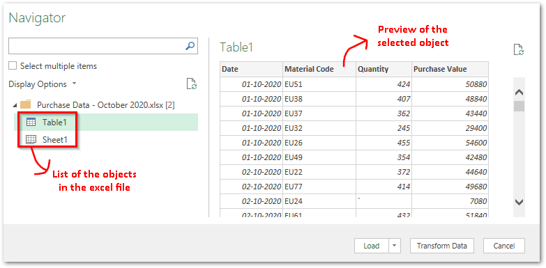 Preview of Table from Excel Power Query
