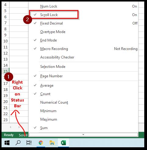 Enable Scroll Lock Display on Status Bar