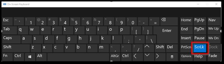 ScrLk on On Screen Virtual Keyboard Application