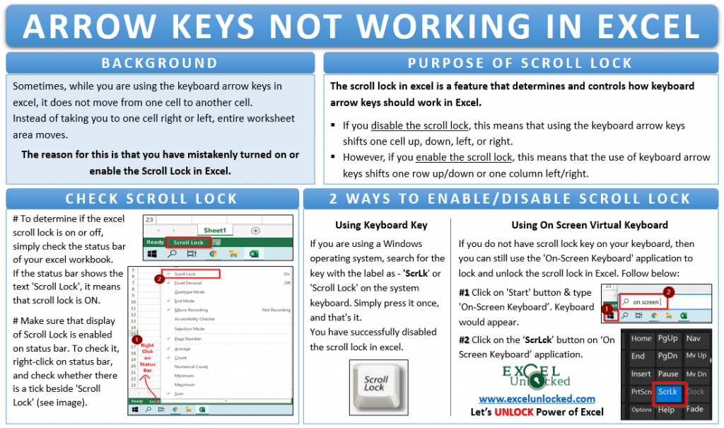 Arrow Keys Not Working in Excel - Solved