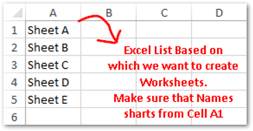 Create Sheets from Excel list Sample