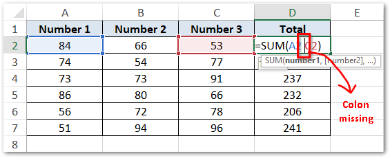 Example on #NULL! error in Excel - Colon missing
