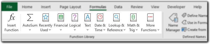 Formula Tab Function Library Excel