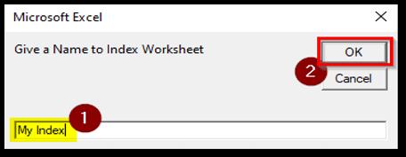 Give Index Sheet Name Input Box