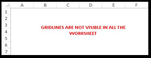 Gridlines Not Visible in Excel Worksheet