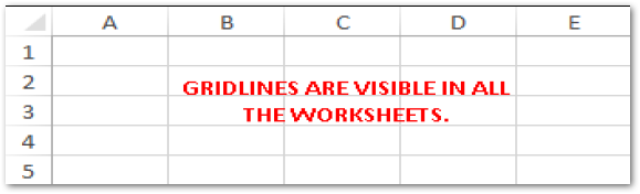 Gridlines visible in all worksheets in excel
