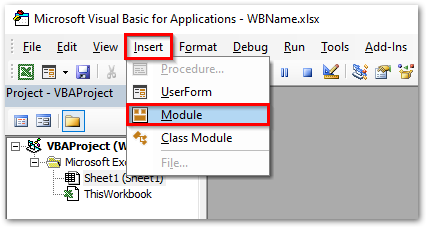 Insert Module in Excel VBA Editor Window
