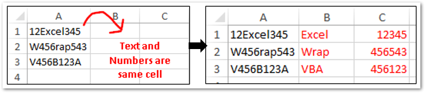 Separate Character and Numeric Values in Different Cells Sample