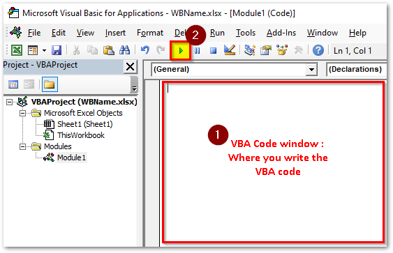 VBA Code Area and Run button in Excel