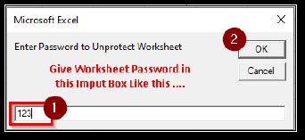 Worksheet Unprotect Password Input box