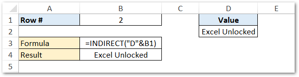 Creating cell reference using INDIRECT function