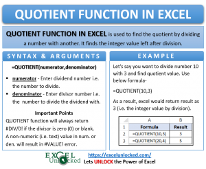 Infographic - QUOTIENT Formula Function in Excel