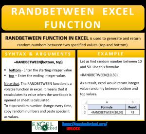 Infographic - RANDBETWEEN Formula Function in Excel